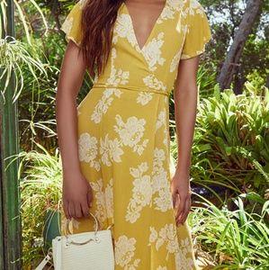 Lulu's Marigold Yellow Floral Maxi Wrap Dress